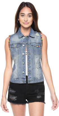 Juicy Couture Embroidered Tropicana Denim Vest