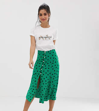 Miss Selfridge Petite midi skirt in polka dot