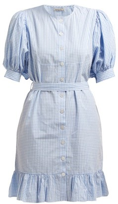 Mes Demoiselles Tropique Gingham Check Cotton Dress - Womens - Blue White