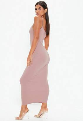 Missguided Purple Strappy Ribbed Bodycon Midi Dress