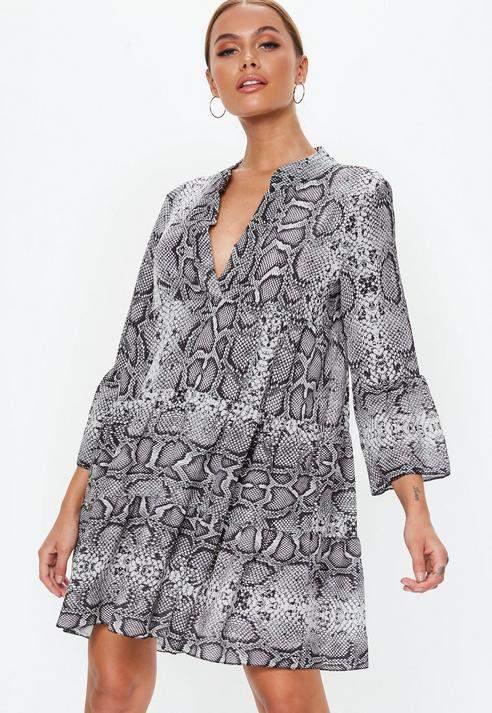Grey Snake Print Smock Dress, Grey