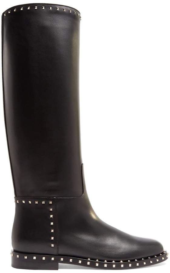 VALENTINO Soul Rockstud leather knee-high boots