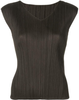 Pleats Please Issey Miyake textured v-neck T-shirt