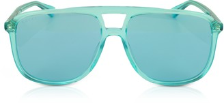 Gucci GG0262S Rectangular-frame Blue Acetate Sunglasses