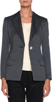 Giorgio Armani Dotted One-Button Silk-Cotton Jacket