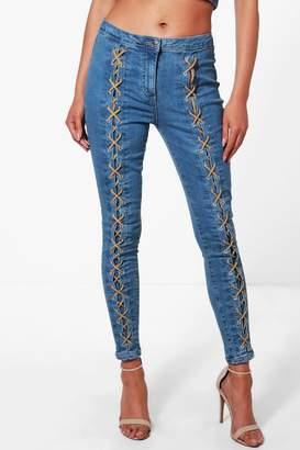 boohoo Lace Up Front Skinny Jeans