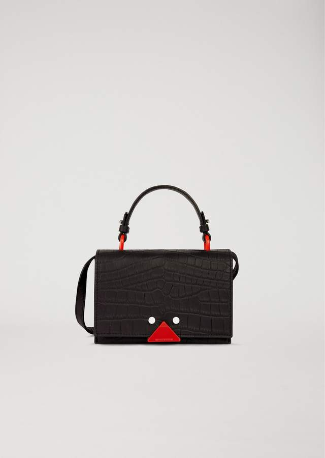 EMPORIO ARMANI crocodile print leather mini bag