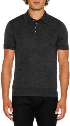 Neil Barrett Men's Short-Sleeve Knitted Polo Shirt