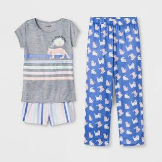 Cat & Jack Girls' Cat Print 3pc Pajama Set Gray