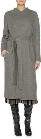 AgnonaAgnona Cashmere Belted Wrap Coat, Gray/Pink