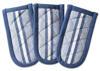 "Design Imports French Blue Chef Stripe Kitchen Pan Handle Set, Set of 3, 6""x3"", 100% Cotton, Blue"