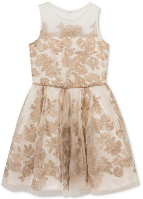 Rare Editions Embroidered Illusion Party Dress, Big Girls (7-16) $84 thestylecure.com