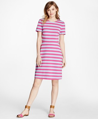 Brooks Brothers Short-Sleeve Striped Ponte Dress