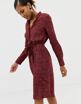 Oasis shirt dress with tie waist in red animal print