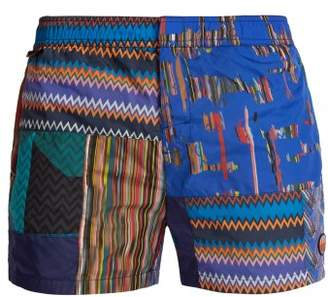 Missoni Mare - Patchwork Zigzag Print Swim Shorts - Mens - Blue Multi