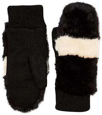 Women Winter Black White Fake Fur Knitted Mittens Fluffy Hand Warmer
