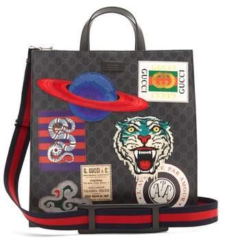 Gucci Gg Supreme Badge Applique Tote Bag - Mens - Black Multi
