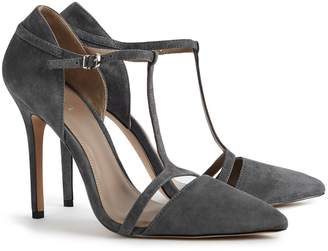 Reiss Josephine - Suede Point Toe T-bar Heels in Grey