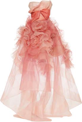 Marchesa Bow-Embellished Silk Organza Gown