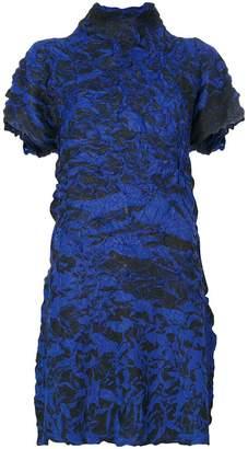 Issey Miyake textured high-neck dress