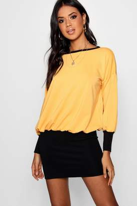boohoo Kiera Contrast Ribbed Hem & Cuff Sweat Dress