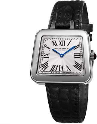 Bruno Magli Women's Emma 1141 Quartz Watch with Black Croco Embossed Italian Leather Strap