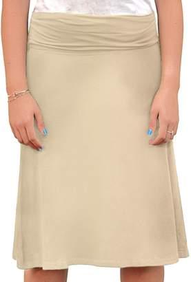 1281efc55e3 Kosher Casual Women s Modest Adjustable Length A-Line Foldover Waistband  Skirt
