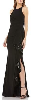Carmen Marc Valvo Sleeveless Sequin Cascade Ruffle Gown