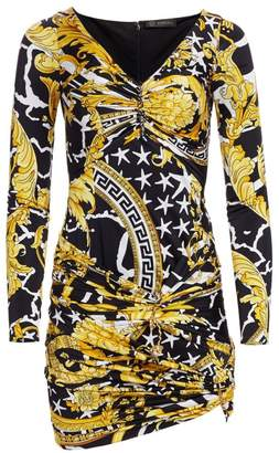 Versace Jersey Savage Baroque Ruched Mini Dress