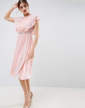 Asos Design Embellished Waist Flutter Sleeve Midi Dress