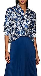 THE GIGI Women's Veta Floral Silk Western Blouse - Blue