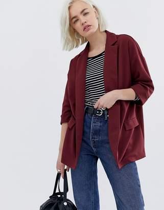 Asos Design DESIGN easy relaxed blazer in textured jersey