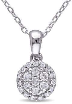 Concerto Sterling Silver 0.25 TCW Diamond Halo Cluster Necklace