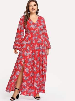 53c4441d28a Shein Plus Bishop Sleeve Boxed Pleated Jungle Print Dress