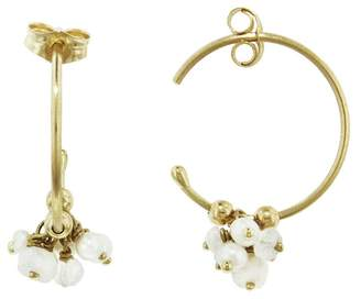 Sweet Pea Pearl and Moonstone Hoop Earrings - Yellow Gold