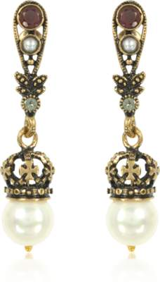 Alcozer & J Drop Crown Earrings w/Pearls
