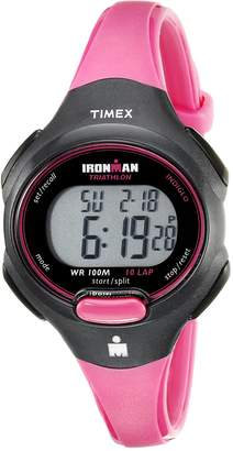 Timex Women's Sport Ironman Pink and Black Mid Size 10 Lap Watch Black/Hot Pink