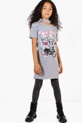 boohoo Girls Choker Neck Biker Dress