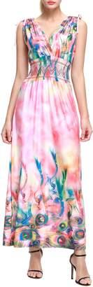 Wantdo Women's Boho Maxi Dress Floral Printing Sleeveless Long Dress Plus Size