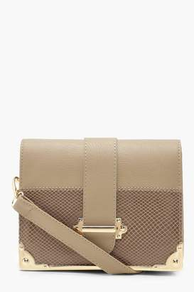 boohoo Metal Trim & Bar Snake Block Cross Body