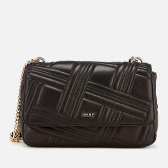 DKNY Women's Allen Large Flap Quilt Shoulder Bag - Black/Gold