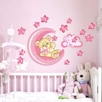Camilla And Marc Lag3 Wall art R00317, wall stickers for children, little bear, good night moon, pink/multi, 60 cm x 40 cm x 0.1 cm