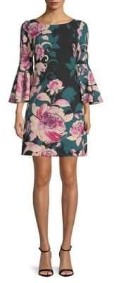 Eliza J Floral Bell-Sleeve Shift Dress