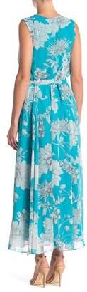 Sandra Darren Chiffon Flare Floral Stripe Dress