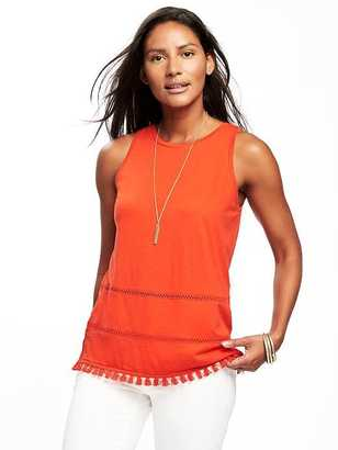 Relaxed Fringe-Hem Tank for Women $19.94 thestylecure.com