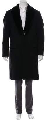 HUGO BOSS Boss by Sheared Nutria-Trimmed Virgin Wool Overcoat