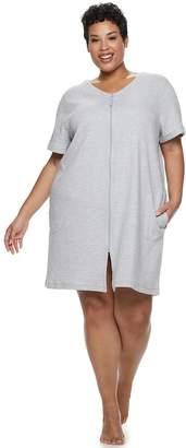 Croft & Barrow Plus Size Waffle Texture Zip-Front Robe