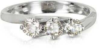 Forzieri 0.54 ctw Diamond 18K White Gold Trilogy Flower Ring