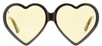Gucci - Heart Shaped Frame Tinted Sunglasses - Womens - Black Yellow