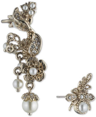 Marchesa Gold-Tone Imitation Pearl & Pave Mismatch Ear Climber & Stud Earring